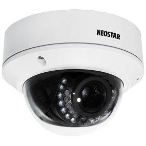 NEOSTAR 4.0MP Infrarot IP Dome-Kamera, 2.8-12mm Motorzoom, 2688x1520p, Nachtsicht 30m, WDR 120dB, H.264, VCA, Alarm, PoE/12V DC,