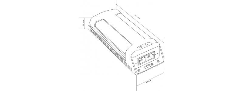 Gigabit PoE Plus Injector, 60 Watt Leistung, 10/100/1000Mbps, Überspannungsschutz