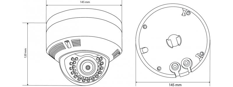 BALTER 4.0MP IR IP Dome-Kamera, 2.8-12mm Motorzoom, 2592x1520p, Nachtsicht 30m, WDR, H.265, PoE/12V DC, IP66